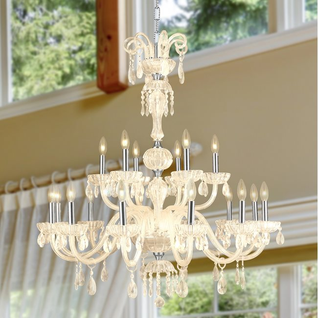 W83178C36-GT Carnivale 18 light Chrome Finish and Golden Teak Crystal Chandelier Two 2 Tier