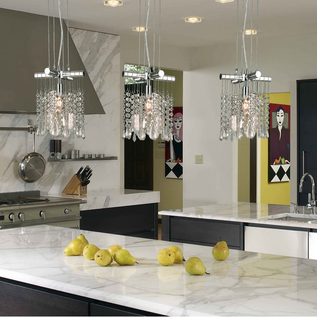 W83179C8-CL Nadia 1 Light Chrome Finish and Clear Crystal Mini Pendant
