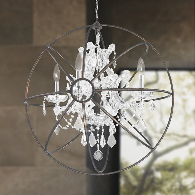 w83190c24-cl Armillary Chandelier, D24 x H26, 4 Light, Chrome Finish and Clear Crystal with Flemish Brass Cage