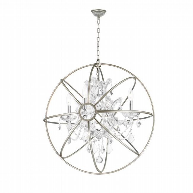 w83190mn24-cl Armillary 4-Light Matte Nickel Finish and Clear Crystal Foucaults Orb Chandelier 24 in. D Large
