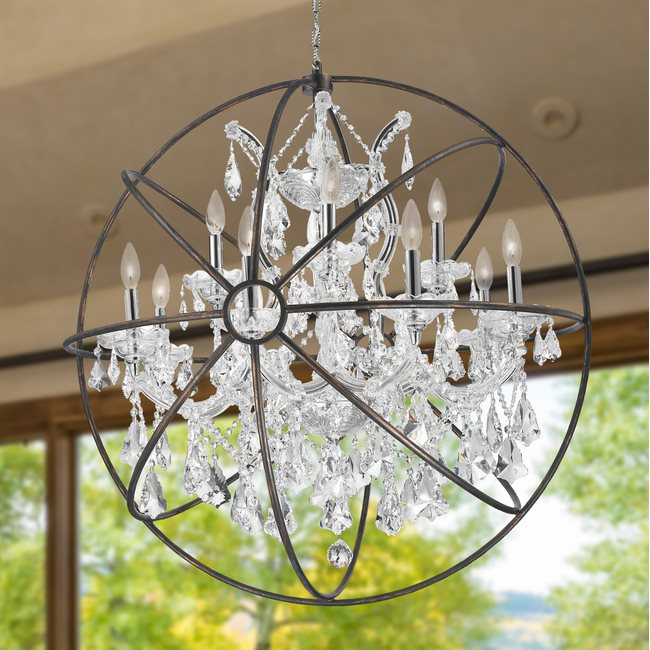 W83191c33 cl armillary chandelier d33 x h35 13 light chrome w83191c33 cl armillary chandelier d33 x h35 13 light chrome finish and clear crystal with flemish brass cage mozeypictures Images