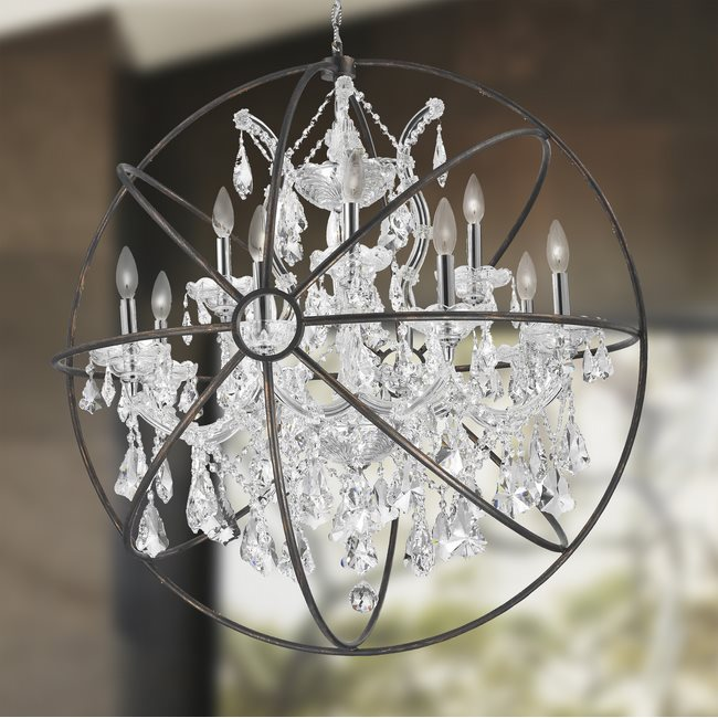 W83191C33-Cl Armillary Chandelier, D33 x H35, 13 Light, Chrome Finish and Clear Crystal with Flemish Brass Cage
