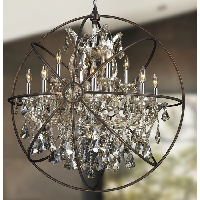 W83191C33-GT Armillary Chandelier, D33 x H35, 13 Light, Chrome Finish and Golden Teak Crystal with Flemish Brass Cage
