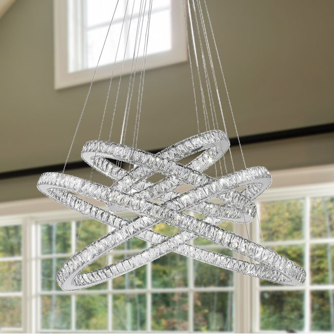 W83192KC48 Galaxy Chandelier, Clear Crystal , Chrome Finish , 56+5 LED Light