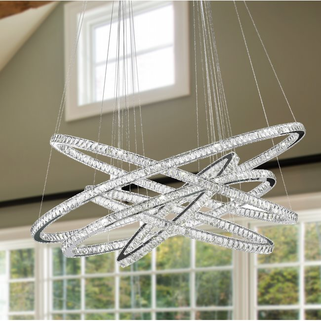 W83193KC72 Galaxy Chandelier, Clear Crystal , Chrome Finish , 94+8 LED Light