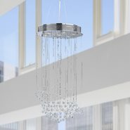 W83202C18 Saturn 7 Light Chrome Finish and Clear Crystal Galaxy Chandelier
