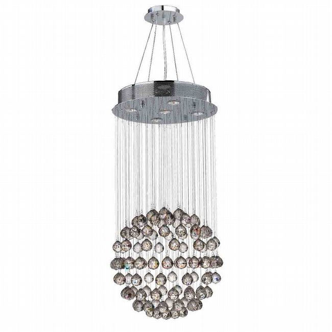 W83207C16 Saturn 5 light Chrome Finish with Clear Crystal Chandelier