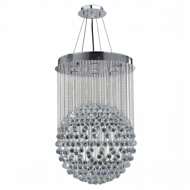 W83209C24 Saturn 7 light Chrome Finish with Clear Crystal Chandelier