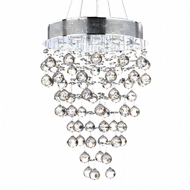 W83211C16 Icicle 7 Light Chrome Finish and Clear Crystal Chandelier