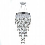 W83212C18 Icicle 7 Light Chrome Finish and Clear Crystal Chandelier