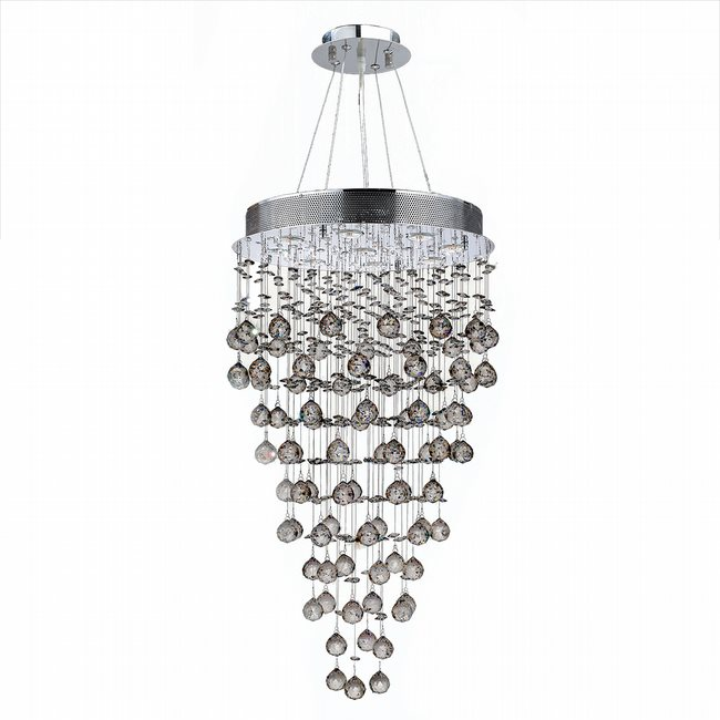 W83213C20 Icicle 9 Light Chrome Finish and Clear Crystal Chandelier