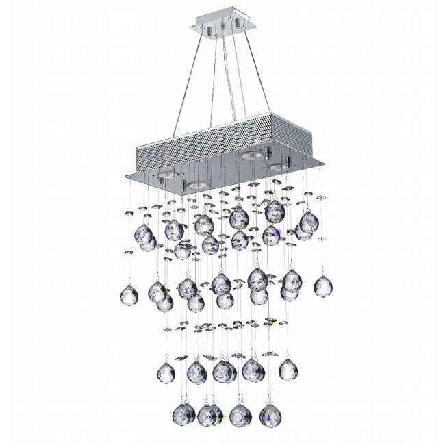 W83220C16 Icicle 7 Light Chrome Finish and Clear Crystal Chandelier