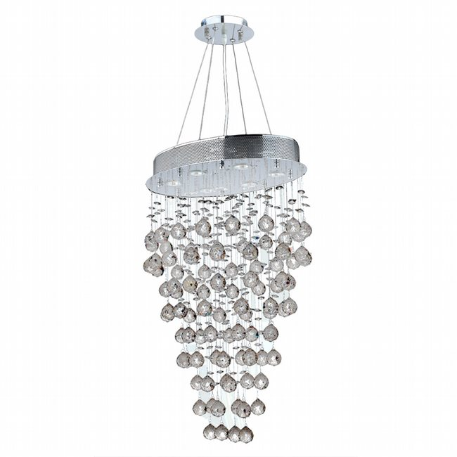 W83227C20 Icicle 6 Light Chrome Finish and Clear Crystal Chandelier