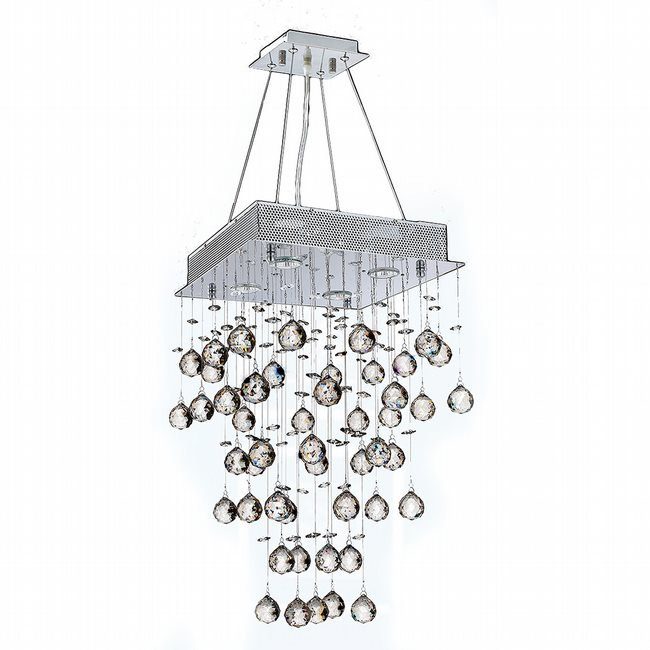 W83235C14 Icicle 4 Light Chrome Finish with Clear Crystal Chandelier