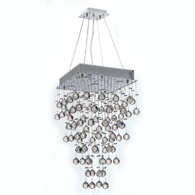 W83236C16 Icicle 5 Light Chrome Finish and Clear Crystal Chandelier