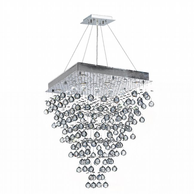 W83238C24 Icicle 8 Light Chrome Finish with Clear Crystal Chandelier