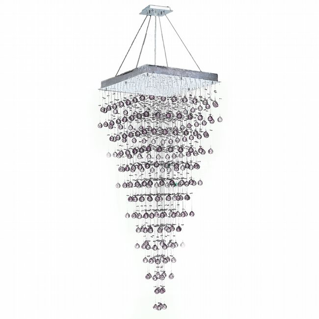W83240C28 Icicle 10 Light Chrome Finish and Clear Crystal Chandelier