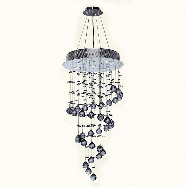 W83246C16 Helix 5 Light Chrome Finish and Clear Crystal Spiral Chandelier