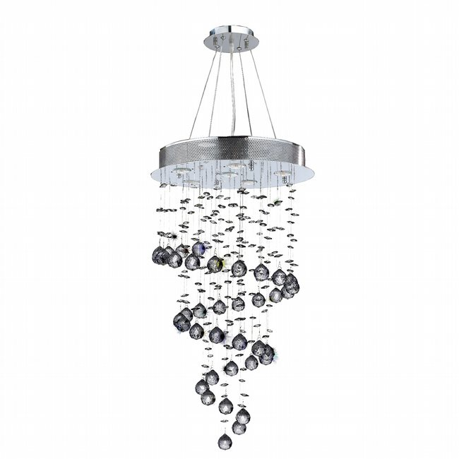 W83247C18 Helix 6 Light Chrome Finish and Clear Crystal Spiral Chandelier