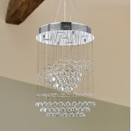 W83252C18 Helix 5 Light Chrome Finish and Clear Crystal Spiral Chandelier