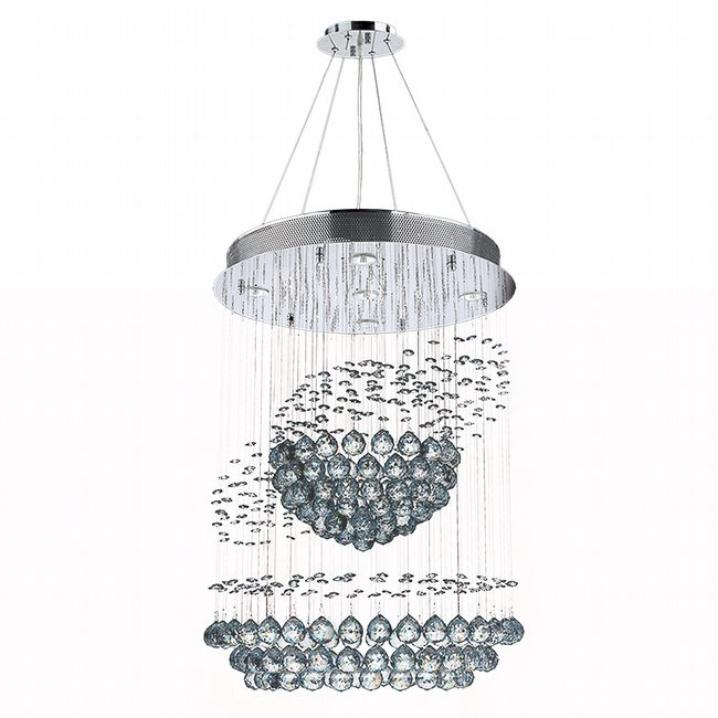 W83253C22 Saturn 5 Light Chrome Finish with Clear Crystal Chandelier