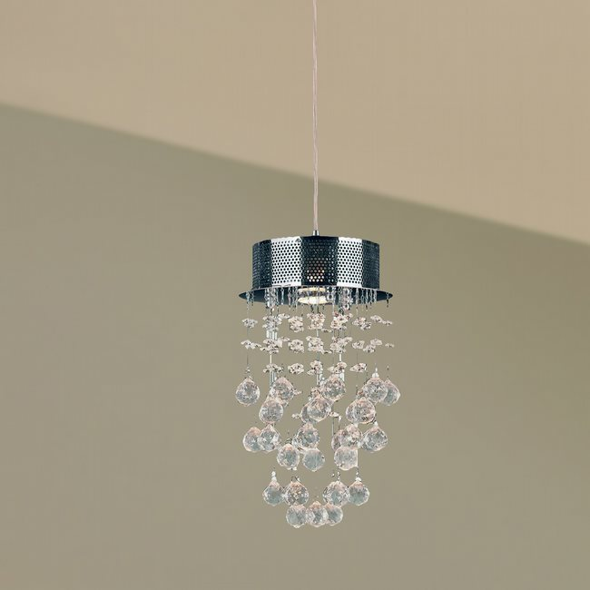 W83258C8 Icicle 1 Light Chrome Finish and Clear Crystal Mini Pendant