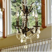 W83302F13-GT Windsor 3 Light Flemish Brass Finish with Golden Teak Crystal Chandelier