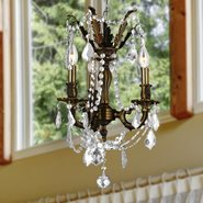 W83302F13-CL Windsor 3 Light Flemish Brass Finish with Clear Crystal Chandelier