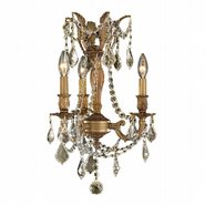 W83302FG13-GT Windsor 3 Light French Gold Finish and Golden Teak Crystal Mini Chandelier