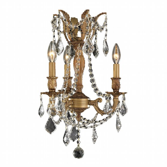 W83302FG13-CL Windsor 3 Light French Gold Finish and Clear Crystal Mini Chandelier