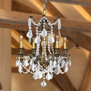 Windsor 4 Light Solid Cast Brass in Antique Bronze Finish with Clear Crystal Drops Chandelier