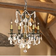 W83303B17-GT Windsor 4 Light Solid Cast Brass in Antique Bronze Finish with Golden Teak Crystal Drops Chandelier