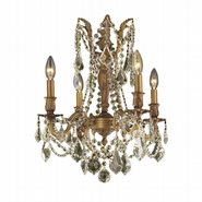 W83303FG17-GT Windsor 4 Light French Gold Finish and Golden Teak Crystal Chandelier
