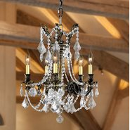 Windsor 5 light Solid Cast Brass in Antique Bronze Finish with Clear Crystal Chandelier