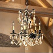 Windsor 5 light Solid Cast Brass in Antique Bronze Finish with Golden Teak Crystal Chandelier