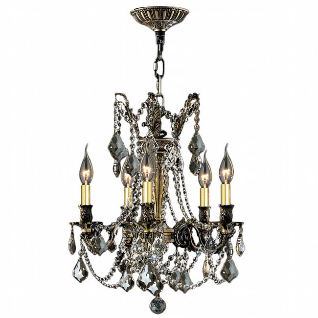 W83304BP18-GT Windsor 5 Light Antique Bronze Finish and Golden Teak Crystal Chandelier