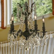 W83304F18-GT Windsor 5 Light Flemish Brass Finish Golden Teak Crystal Chandelier