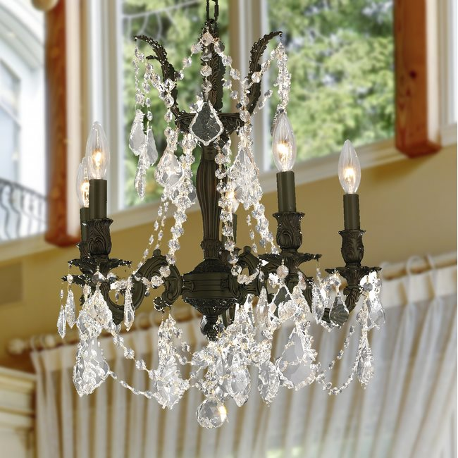 W83304F18-CL Windsor 5 Light Flemish Brass Finish Clear Crystal Chandelier