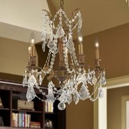 W83304FG18-CL Windsor 5 Light French Gold Finish and Clear Crystal Chandelier