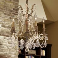 W83304FG18-GT Windsor 5 light French Gold Finish and Golden Teak Crystal Chandelier