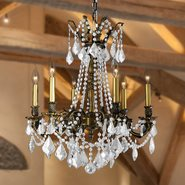 Windsor 6 light Solid Cast Brass in Antique Bronze Finish with Clear Crystal Chandelier