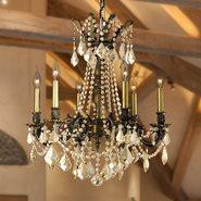 W83305B23-GT Windsor 6 Light Antique Bronze Finish and Golden Teak Crystal Solid Cast Brass Chandelier