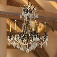 W83305BP23-CL Windsor 6 Light Antique Bronze Finish and Clear Crystal Chandelier