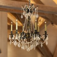 W83305BP23-GT Windsor 6 Light Antique Bronze Finish and Golden Teak Crystal Chandelier