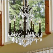 W83305F23-CL Windsor 6 Light Flemish Brass Finish Clear Crystal Chandelier