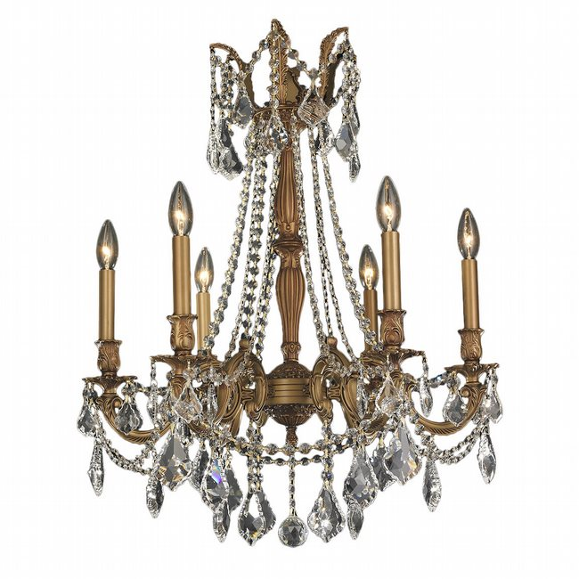 W83305FG23-CL Windsor 6 Light French Gold Finish and Clear Crystal Chandelier