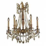 W83305FG23-GT Windsor 6 light French Gold Finish and Golden Teak Crystal Chandelier