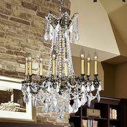 Windsor Collection 8 Light Antique Bronze Finish and Clear Crystal Cast Brass Chandelier