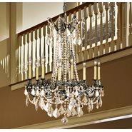 Windsor 8 light Cast Brass in Antique Bronze Finish and Golden Teak Crystal Chandelier
