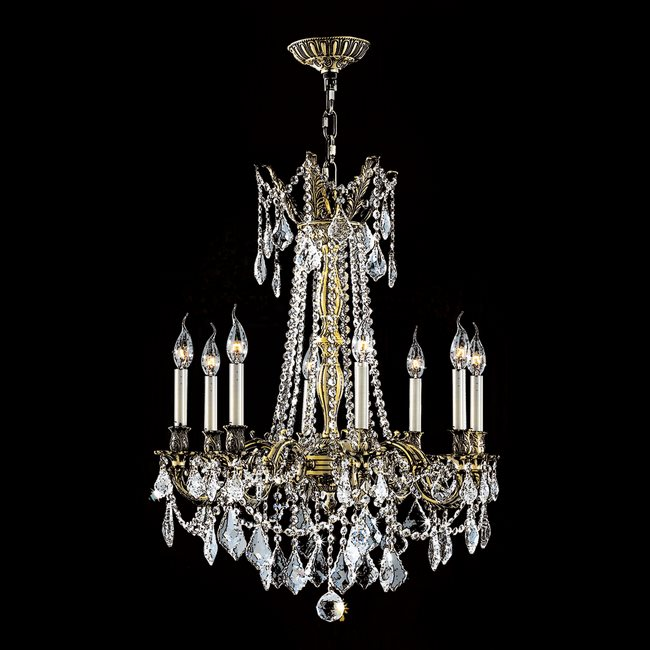 W83306BP24-CL Windsor 8 Light Antique Bronze Finish and Clear Crystal Chandelier